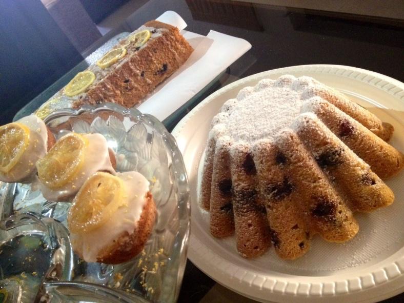 Lemon cake and friands trio