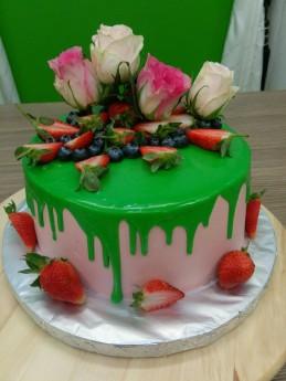 green drip pink rose cake