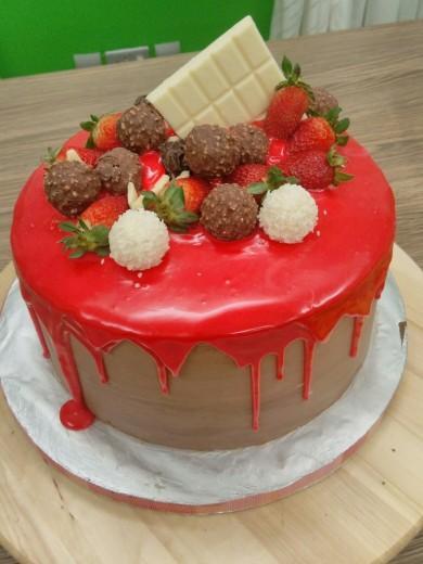 Red drip cake choc butter cream