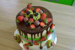 strawberry swirl cake top view