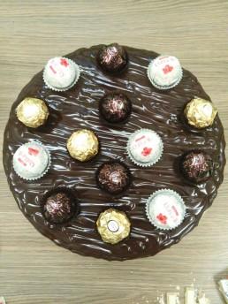 top view chocolate and ferrero cake