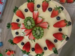 top view white drip cake
