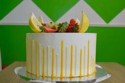 yellow reverse drip cake 4